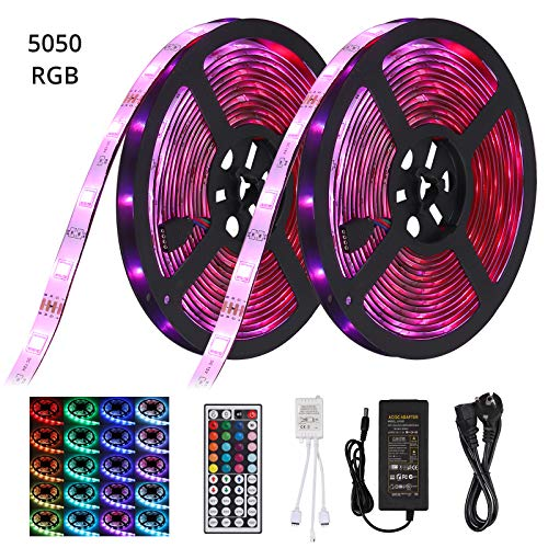 Kit de Luces de Tira LED 32.8pies 5050 RGB 300 Led Tiras Impermeables Luces de Cuerda Cambiantes de Color Flexible con 44 Llaves IR Remoto Ideal para Habitación, Hogar, Cocina, Fiesta