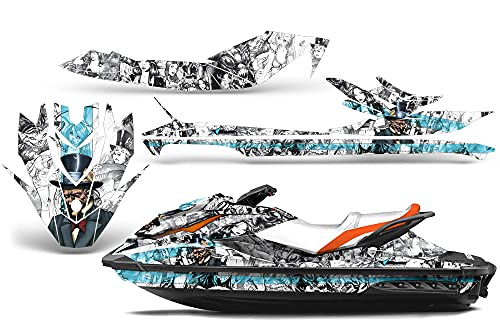 AMR Racing Jet Ski Graphics kit Sticker Decal Compatible with Sea-Doo GTI SE130 2011-2019 - Mad Hatter White Mint Aqua Blue