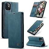 XINYUNEW Funda Compatible para iPhone 11 6.1' Carcasa con Flip Case Cover Cuero Magnético Plegable Carter Soporte Prueba de Golpes Caso-Azul