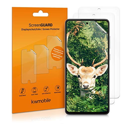 kwmobile 3X Schutzfolie kompatibel mit Samsung Galaxy A72 - Folie klar - Bildschirmschutzfolie Bildschirmschutz transparent Bildschirmfolie