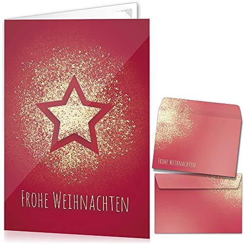 Weihnachtskarten mit Umschlägen (15er Set) - Klappkarten mit Stern-Motiv in Rot für die schönsten Weihnachtsgrüße - Frohe Weihnachten