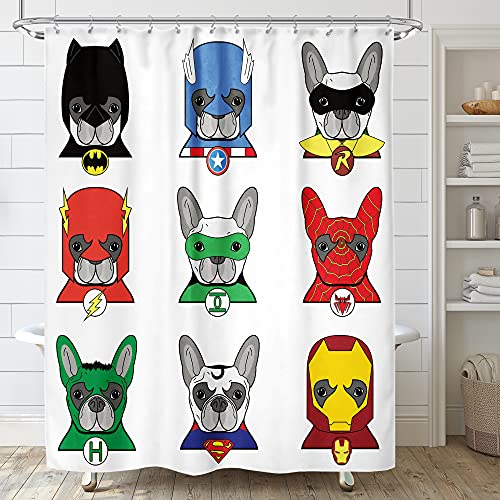 Riyidecor Superhero Shower Curtain Funny Dogs 72x72 Inch Bulldog Cartoon Kids Children Puppies in Disguise Masks with 12 Pack Metal Hooks Decor Fabric Bathroom Set Polyester Waterproof
