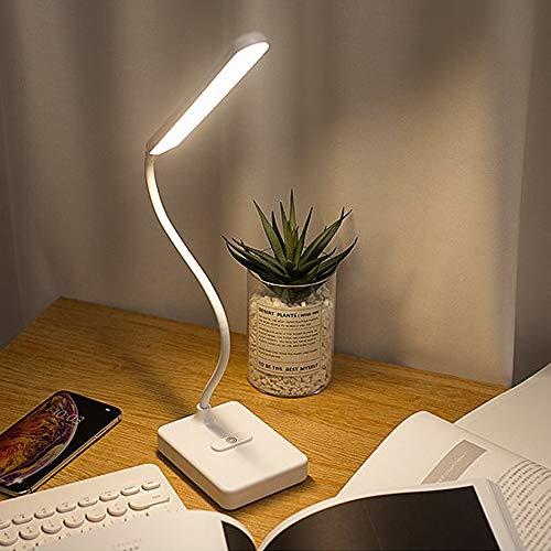 Lámpara Escritorio LED Flexo de Escritorio con Control Táctil 3 Modos de Brillo Luz Regulable Cuidado Ocular Carga USB Puede Convertirse en Soporte para Teléfono