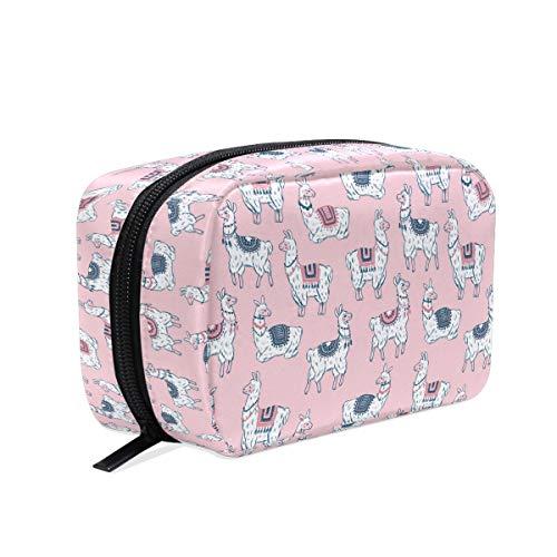 Süße Llamas Make-up-Tasche, Kosmetiktasche, Kulturbeutel, Reisetasche, Etui für Frauen, rosa Alpaka, tragbarer Organizer, Aufbewahrungstasche