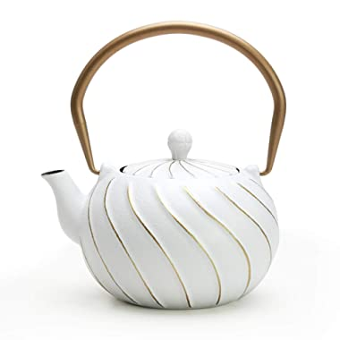 Tea Kettle, TOPTIER Japanese Cast Iron Teapot with Stainless Steel Infuser, Cast Iron Tea Kettle Stovetop Safe, Wave Design Teapot Coated with Enameled Interior for 40 Ounce (1200 ml), White