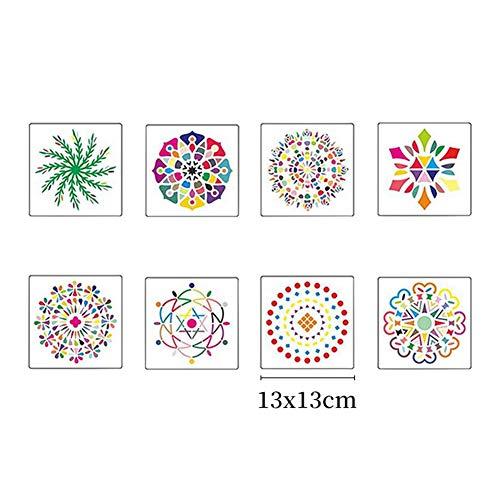 XUNMOWEI Malschablonen, Zeichnen, Mandala-Schablonen, wiederverwendbar, lasergeschnitten, Malschablone für DIY-Dekoration, Holz, Airbrush, Steine, Boden und Wände, 8 Stück