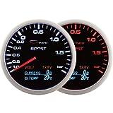 4-in-1-Auto Performance-Zubehör - Depo Racing 60 mm. Turbo-Anzeige, Volt-Anzeige, Öldruckanzeige und Öltemperaturanzeige (BAR und C) - Auto Parts & Car Tuning Zubehör mit LED-Hintergrundbeleuchtung