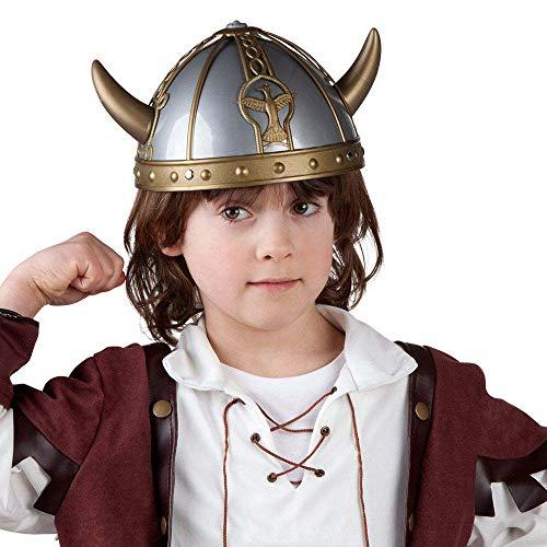 Boland 01351 - Helm Wikinger, silber-gold, Wikingerhelm für Kinder, aus Kunststoff, Gallier, Gladiator, Hut, Kostüm, Karneval, Mottoparty