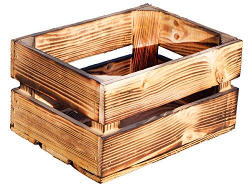 Kistenkolli Altes Land kleine geflammte Massive Obstkiste Frieda Maße ca 30x22x16cm Weinkiste Regalkiste Ablageregal (1er Set Frieda geflammt)