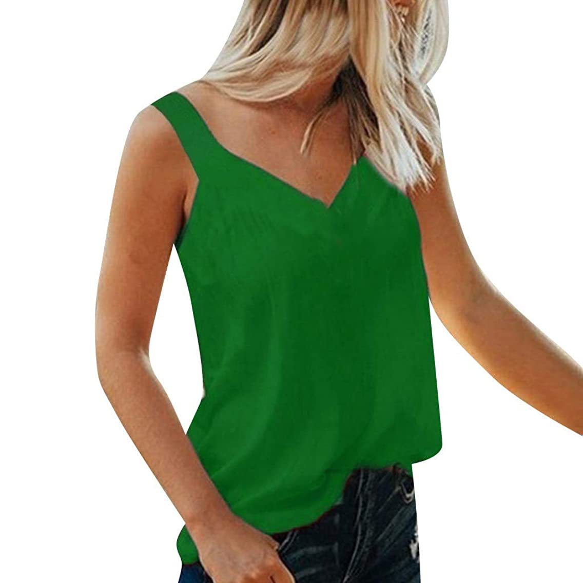 Yxiudeyyr Summer Women's Tops Boho Cami Straps V Neck Sleeveless Shirts Vest Camisole Solid Loose Tank Tops