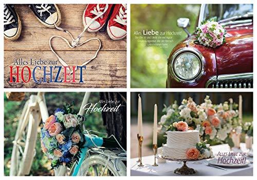 Juego de 4 tarjetas de felicitación / 4 diseños plegables para boda/tarta/ramo...