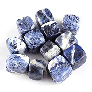 Top Plaza Tumbled Polished Stones Healing Crystals Natural Sodalite Gemstone Quartz Bulk for Wicca Reiki Healing Energy - 12 Pcs