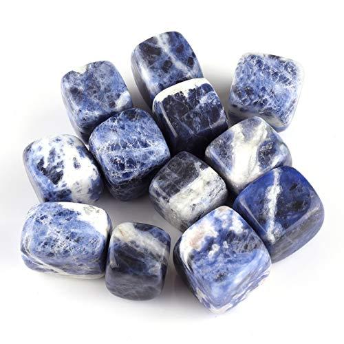 Top Plaza Tumbled Polished Stones Healing Crystals Natural Sodalite Gemstone Quartz Bulk for Wicca Reiki Healing Energy - 12 Pcs