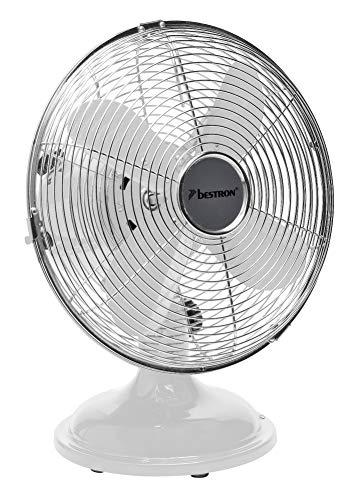 Bestron DFT25W Summer Breeze Ventilateur de table, Blanc, Ø 30 cm