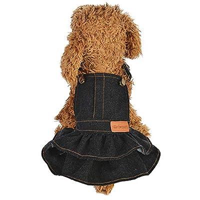 Alalaso Dog Puppy Dress, Pure Color Denim Dress Pet Dog Polyester Apparels