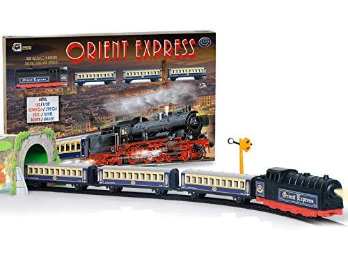 PEQUETREN - Tren Orient Express metálico con luz estación Puente y túnel (Servicios E Industrias del Juguete)