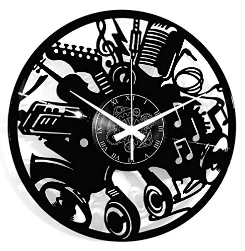 Instant Karma Clocks - Reloj de Pared de Vinilo, Disco LP de 33 RPM, Guitarra, batería, Teclado, Notas, Instrumentos Musicales, Vintage, Hecho a Mano