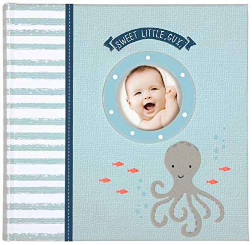 Carter's Blue Nautical Slim Bound Photo Album for Baby Boys, Holds 160 Photos, 40 Pages