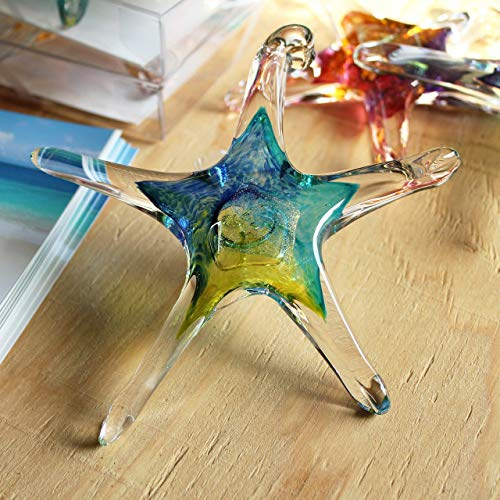 Luke Adams Glass | 5' Small Glass Star | Handmade Suncatcher | Hanging Starfish Home Décor | Outdoor Garden Accent (Blue Teal Lime)