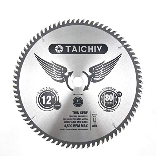 TAICHIV 12'80T Circular Table Saw Blade Crosscutting Tungsten Carbide Miter Saw Blade for Wood and Wood Composities