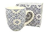 Duo, tazza jumbo, XXL, blu, decorazione etnica, 900 ml, in porcellana, ideale come regalo per ufficio, per caffè, tè, cappuccino, tazza gigante