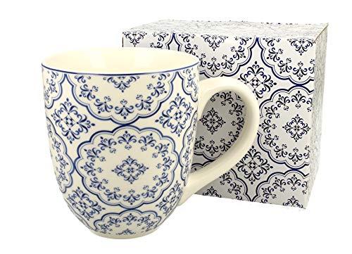 Duo Jumbotasse Becher XXL Blue folkloristische Deko 900 ml Porzellan Trinkbecher Smoothie Becher Geschenk Büro Tasse für Kaffee Teetasse Cappuccino Kaffeebecher Jumbo-Tasse Riesentasse XXXL