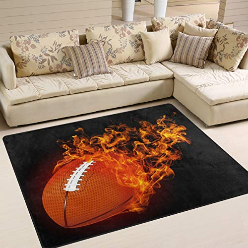 Use7 American Football in Fire Black Sport-Teppich für Wohnzimmer, Schlafzimmer, Textil, multi, 160cm x 122cm(5.3 x 4 feet)