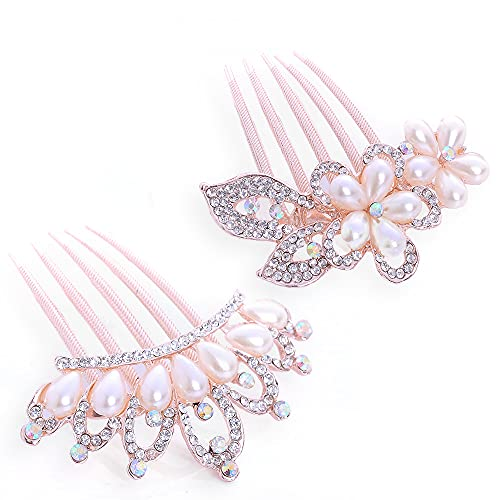 2 peines para el pelo de novia, con cristales y diseño de...