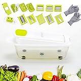 HENHOD - Mandoline Cuisine Multifonctions, Coupe Légumes - 12pcs : Trancheuse, Presse Agrume, Râpe, Hachoir, Séparateur et Coupe Oeuf | Gant Anti-Coupure Inclus