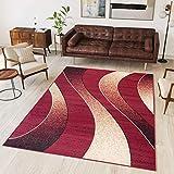 Tapiso Alfombra De Salón Moderna – Color Rojo Diseño Ondas – Varias Dimensiones S-XXXL 160 x 220 cm