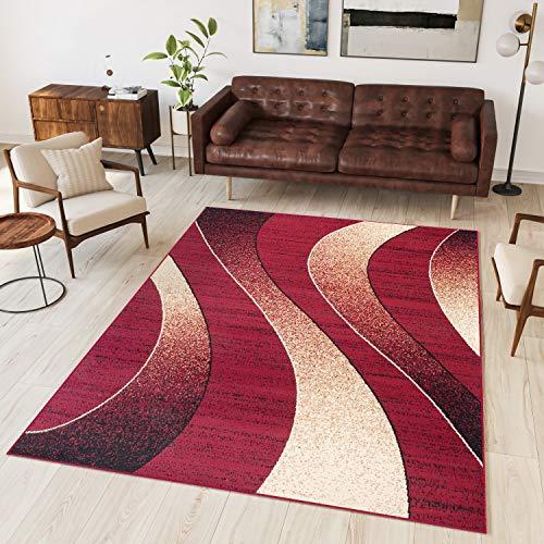 Tapiso Alfombra De Salón Moderna – Color Rojo Diseño Ondas – Varias Dimensiones S-XXXL 200 x 300 cm