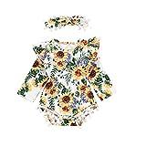 Julhold Säuglingsbaby beiläufige Lange Hülsen Sonnenblumen Druck dünner Spielanzug Body + Stirnband Ausstattung 0-24 Monate