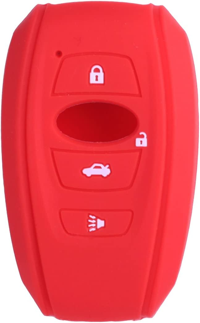 2Pcs XUHANG Sillicone key fob Skin key Cover Remote Case Protector Shell for 2016 2017 Subaru Forester Sti 2017 Outback 2014-2017 BRZ 2015 2016 XV Crosstrek Impreza 2016 WRX smart remote red blue