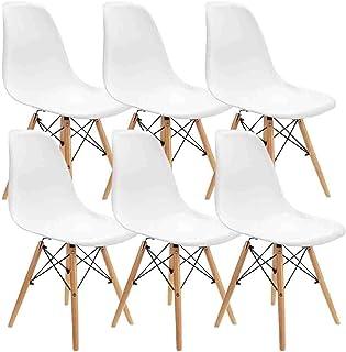 MUEBLES HOME - Juego de 6 sillas de comedor modernas de mediados de siglo, sillas de plástico con patas de madera para dormitorio, sala de estar, sillas montadas lateralmente, color blanco
