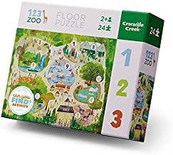 Crocodile Creek 4185-3 123/Zoo Early Learning Puzzle (24 Piece), Green/Yellow/Blue