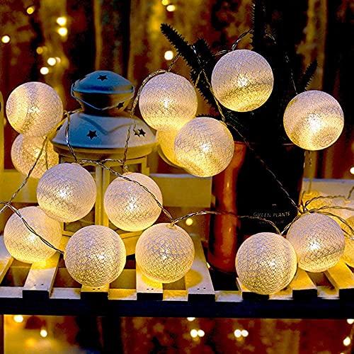 Bolas de algodón, funciona con pilas, 3 m, 20 LED, bolas de lana, cadena de luces decorativas para dormitorio, boda, hogar, Navidad, Halloween, jardín (blanco cálido)