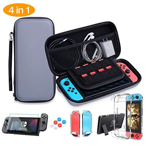 HEYSTOP Accessori per Nintendo Switch, Nintendo Switch Custodia + Nintendo Switch Cover Trasparente + HD Switch Pellicole Protettive + Thumb Grips per