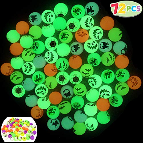 "JOYIN 72 Glow in The Dark Bouncing Balls 1.25"" | 6 Halloween Theme Designs | for Halloween Bouncy Party Favor Supplies, School Classroom Game Rewards, Trick or Treating Goodie"
