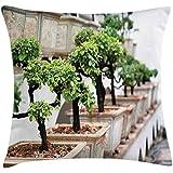 Funda de cojín de jardín japonés con cojines, plantas de bonsai en macetas y pacífica flora oriental de Feng Shui, funda decorativa de almohada decorativa cuadrada, 18 x 18 pulgadas, verde lima beige