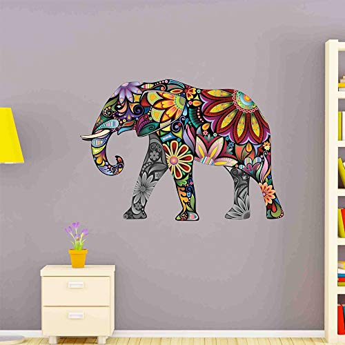 Style & Apply Flower Elephant Wall Decal Wall Sticker, Vinyl Wall Art, Home Decor, Wall Mural - SD3038-24x17