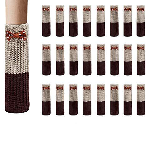 FLZONE Calcetines Antideslizantes para Silla, 24 Piezas de Tela de Algodón Antideslizante Elástica Muebles para Pies Calcetines de Piso para Protección de Decoración Cubiertas de Tapas Set