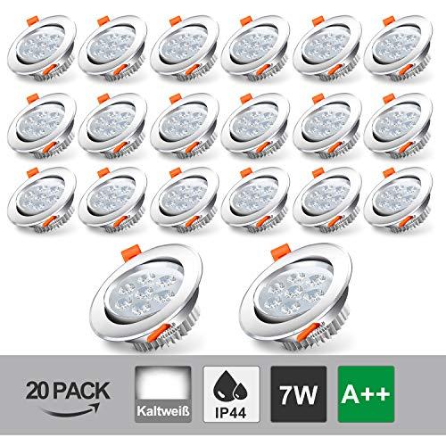 Hengda Faretto LED 7 W ad Incasso Rotondo Bianco Freddo 6500K Set da 20 Plafoniera da Incasso IP44 per Soggiorno stanza per bambini salone