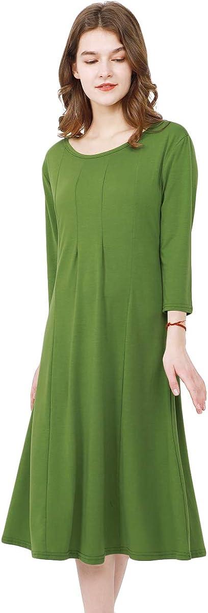 YMING Womens Casual Plain Dress 3/4 Sleeve Midi Dress A Line Party Cotton Dress XS-3XL