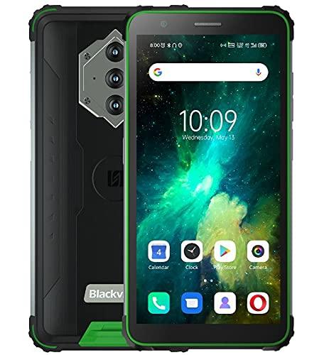 Blackview BV6600E Outdoor Smartphone ohne Vertrag, 8580mAh Akku (Rückwärtsladung), 5.7'' HD + IP68 und IP69K Wasserdichtes Stoßfestes Handy Android 11, Octa Core 4GB + 32GB, 13MP Kamera GPS Grün