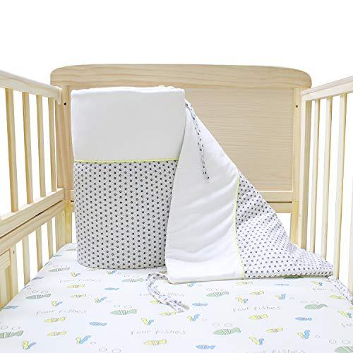 Verstelbare Baby Bed Bumper, 40x180cm - 100% organisch katoen en polyester, Oeko TEX gecertificeerd vrij van chemische producten - voor meisjes en jongens,60x120 Baby Bed Guard - Baby Stars Grey