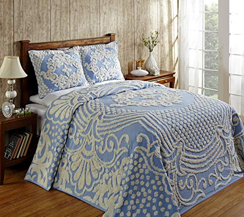 Better Trends Florence Collection Is Super Soft And Light Weight In Medallion Design 100 Pecent Cotton Tufted Unique Luxurious Machine Washable Tumble Dry, Queen Bedspread, Blue