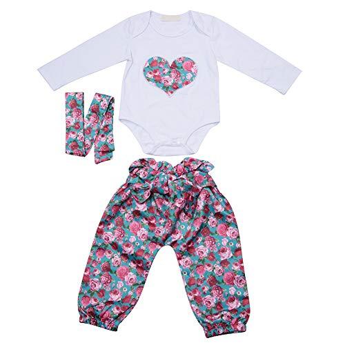 3 stuks pasgeborenen babykleding set lange mouwen bloem hart patroon druk romper top bloemen broek kleine kinderen body winter kleding met haarband 80