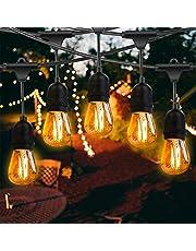 Fochea Led-lichtsnoer voor buiten, 14,63 m, IP65 waterdicht, met 15 ledgloeilampen voor bruiloft, feest, binnen- en buitendecoratie