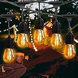 Lichterkette Außen, FOCHEA LED Lichterkette Glühbirnen 15M IP65 Wasserdicht Lichterkette Garten mit 17 x 2W LED-Glühbirnen für Hochzeit Party Innen Aussen Dekoration