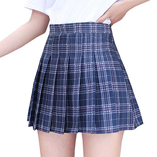 LPATTERN Mädchen Vintage Rockabilly Rock A-Linie Minirock Skater Rock Hohe Taille Plissee-Rock Karriert-Schulrock Schuluniform Kostüm mit Untershorts,Blau-Rot-Weiß Karo,S(Taille 64CM/Länge 36CM)